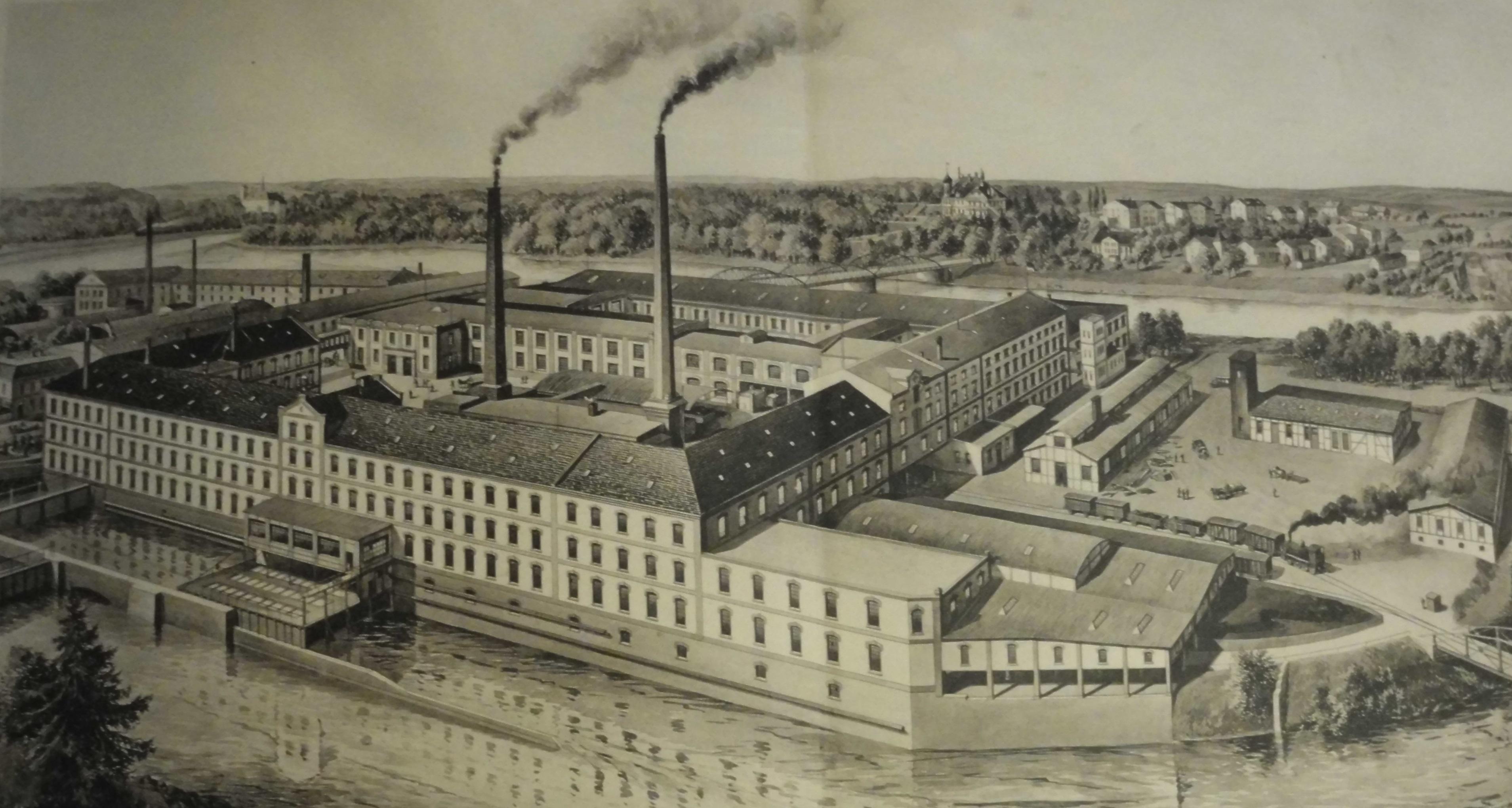 Schrödersche Papierfabrik mit Mühlgraben Ansicht von 1912
