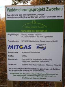 Schild zu Waldmehrungsprojekt Zwochau