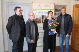 Begrüßung Rebecca Heinze durch den Vorstand des Geopark Porphyrland, Foto: N. Friedrich