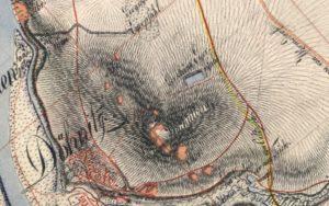 Ausschnitt aus dem Sächsischen Meilenblatt mit den Bauernbrüchen (hellbraun) am Wachtelberg, kartiert 1807