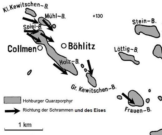 Auf den Porphyrkuppen um Böhlitz nachgewiesene Gletscherschliffe