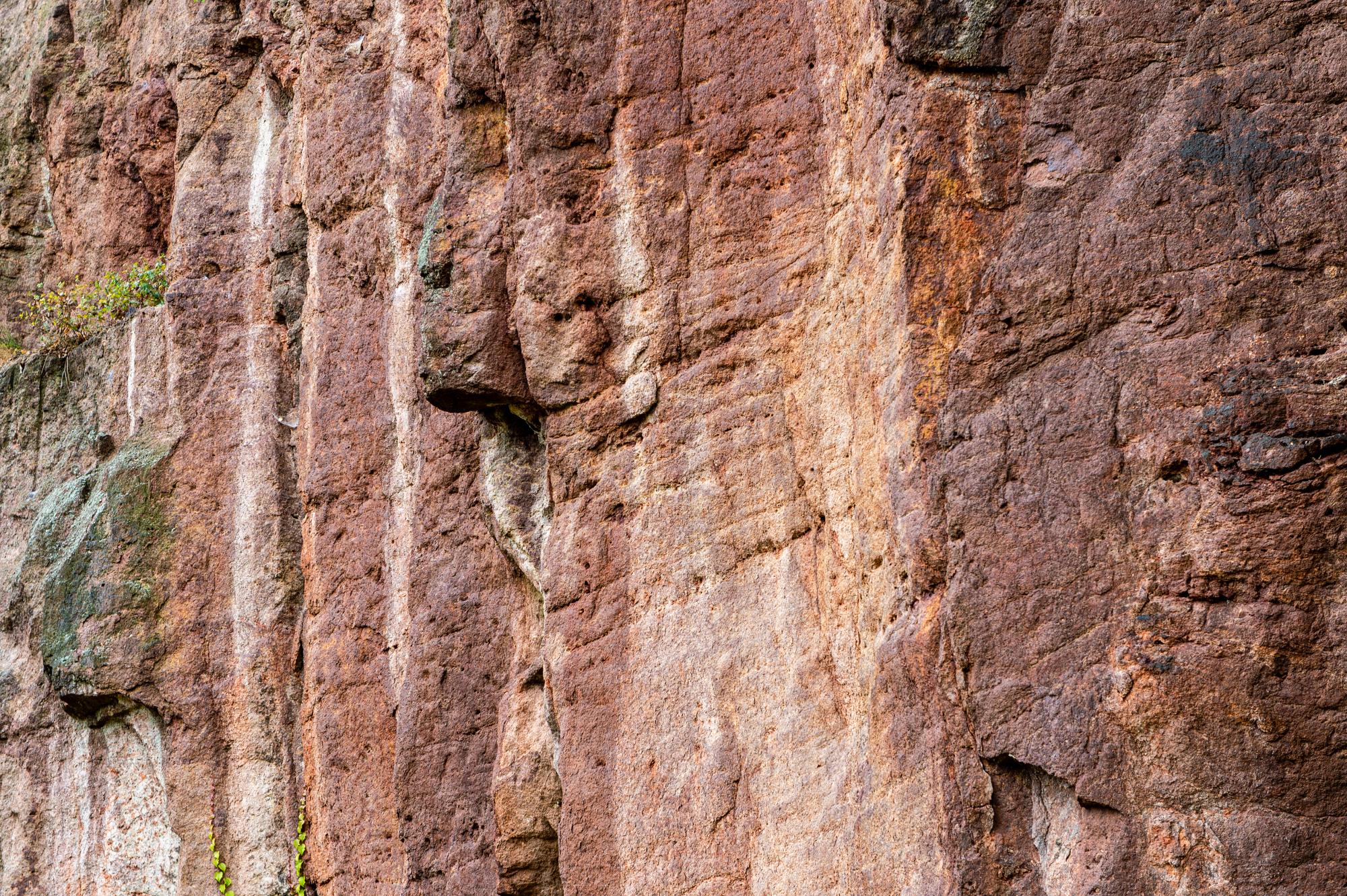 Horizontales Fließgefüge im Leisniger Porphyr im Aufschluss Rote Wand, Foto: M. J. Kellner