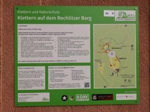 Informationstafel Klettern, Rochlitzer Berg, Foto: HVV Rochlitzer Muldental
